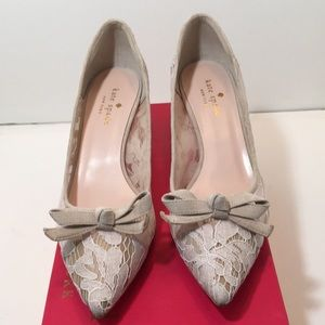 Kate Spade Too Blush Lace Kid Suede Pumps Size 7 M